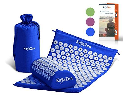 Hochwertiges Akupressur-Set mit Akupressur-Matte & Akupressur-Kissen - inkl. Gebrauchsanweisung - bewährte Methode gegen Nacken- & Kopfschmerzen - Massagematte für eine wirkungsvolle Therapie Zuhause | blau