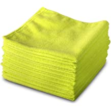 Exel GCC0030-Y Microfibre Cleaning Cloths for Polishing, Washing, Waxing and Dusting, Yellow, 400 mm x 400 mm, Pack of 10