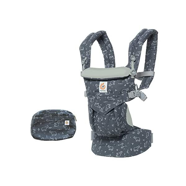 "Ergobaby Baby Carrier Backpack for Newborn to Toddler, 4-Position Omni 360 Trunks Up, Ergonomic Child Carrier Ergobaby Baby carrier with 4 ergonomic wearing positions: parent facing, on the back, on the hip and on the front facing outwards. Supports hip-healthy ""m"" shape position for baby's comfort and ergonomics. Adapts to baby's growth: Infant baby carrier newborn to toddler (7-33 lbs./ 3.2 to 20 kg), no infant insert needed. Tuck-away baby hood for sun protection (UPF 50+) and privacy. NEW - Maximum comfort for parent: Longwear comfort with lumbar support waistbelt and extra cushioned shoulder straps. 1"