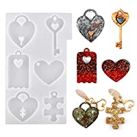 LET'S RESIN Couples Keychains Molds,Couple Necklace Molds with Heart Resin Molds, Heart Lock Silicone Molds, Puzzle Epoxy Pendant Molds for Mothers Day Gifts