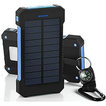 chargeur solaire de 10000 mah avec double port usb et lampe torche batterie externe etanche anti. Black Bedroom Furniture Sets. Home Design Ideas