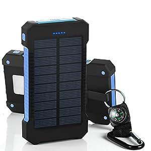 Chargeur Solaire de 10000 mAh avec Double Port USB et Lampe torche Batterie Externe Etanche Anti-choc Résistance à la Pluie et à la Poussier (02Noir-bleu)