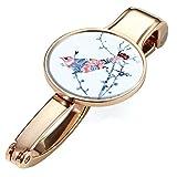Handtaschenclip und -halter mit Dekor - #BGH04-A159 - Metall - ros gold - Motiv: BIRDIE ROSE - hält bis zu 5 kg - das Original von TROIKA