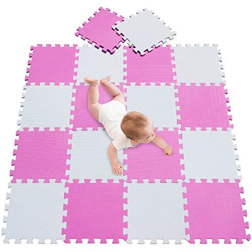 meiqiciol Puzzlematte für Babys und Kinder, Spielteppich Spielmatte Lernteppich Kinderspielteppich Schaumstoffmatte Matte bunt,18 Stück Weiß pink 0103