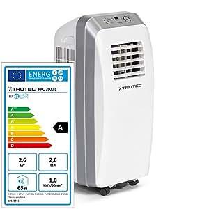 Trotec PAC 2600 1210002005 Climatiseur portable 9000BTU, climatiseur monobloc pour intérieur, 2,6kW, EEK A