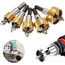 JZK Set 5 punte a tazza per metallo legno acciaio ferro seghe a tazza HSS per forare fori piccoli di diametro 16 mm 18.5 mm 20 mm 25 mm 30 mm, punte trapano per metallo duro