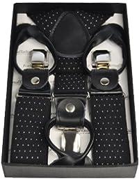 Mens 3.5 cm Dual Clip Y-Shaped Adjustable Coloured Trouser Braces Suspenders