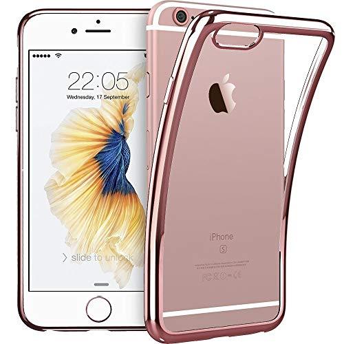 ESR kompatibel mit iPhone 6S Plus / 6 Plus Hülle (5,5 Zoll), Twinkler Series [0.8mm Ultra Dünne] Weiche Silikon Schutzhülle TPU Transparent mit Farbig Rahmen Hülle für iPhone 6+ / 6S - Rosy