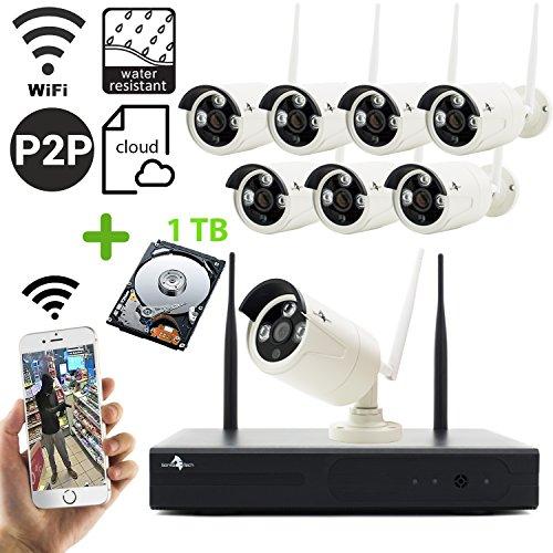 Drahtloses Überwachungskamera Set 8 Kanal in deutsch mit 8 Stück 960P HD Wasserfester IP kameraa, 1TB Festplatte schwingungsarm vorinstalliert, Drahtlos Überwchungssystem, Bewegungsalarm, Nachtsicht (überwachung Kamera Rekorder)