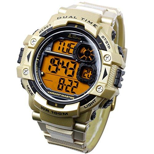 [LAD WEATHER] Dual-Zeit/100m Wasserdicht/Stoppuhr/Pacer-Funktion/Digitales Display/Militäruhr/Camouflage