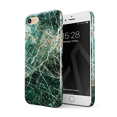 BURGA Hülle Kompatibel mit iPhone 7 / iPhone 8 Handy Huelle Grün Smaragd Juwel Marmor Muster Green Marble Dünn, Robuste Rückschale aus Kunststoff Handyhülle Schutz Case Cover Green 7