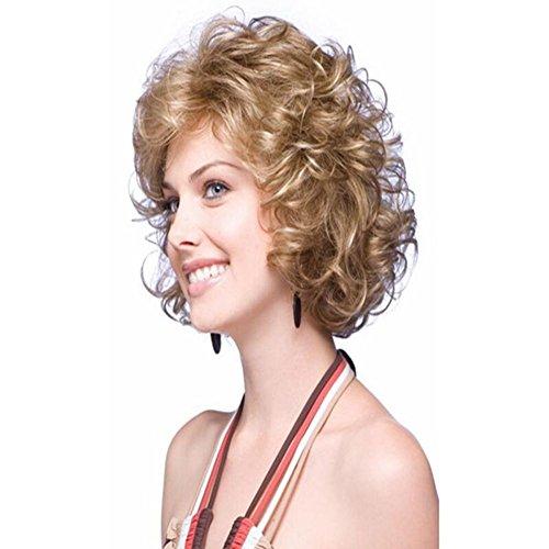 MEYLEE Kurze lockige Perücke Flaumige kleine lockige Haare kurze Haare stilvolle Frauen (Kit School Girl)