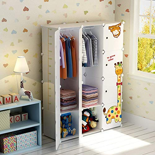 Koossy Expandable Clothes Closet Wardrobe Cupboards Armoire Storage Organizer with Giraffe Stickers, Capacious & Sturdy 8 Cubes&2 Hanger White, 111 x 47 x 147 cm …