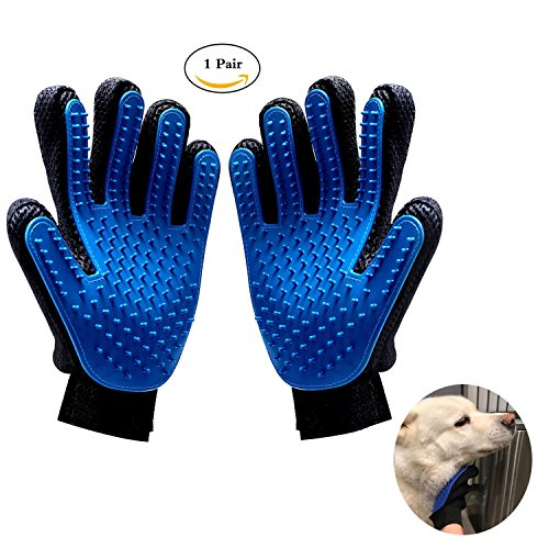 Pet Grooming Glove, 2 Pack Pet Grooming Mitt Glove Gentle Deshedding Glove for Dog & Cat with Long & Short Hair Fur, Hair Remover Brush Glove for Pet Grooming, Massage, Clean (Left 1 + Right 1)