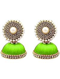 New Lime Green Color Beautiful Designer Silk Thread Earring Jhumka