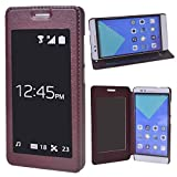 COOLKE Huawei Honor 7 Case, [Brown] Stylish Folio Case View