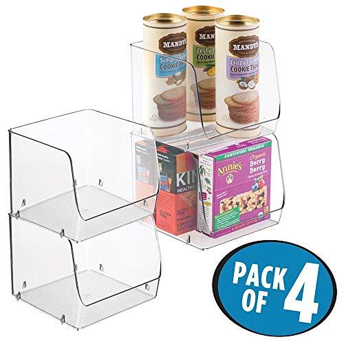 mDesign 4er-Set Aufbewahrungsbox ? stapelbar ? ideal zur Küchen Ablage, im Küchenschrank oder als Kühlschrankbox ? durchsichtig