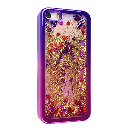 iPhone SE Hülle,iPhone 5S Liquid Case, Asnlove Handyhülle mit Flussigem Glitter 3D Kreativ Allmähliche Veränderung Muster Transparent Hard Case Hülle Glitter Case Cool Floating QuickSand Luxury Shiny  Color-2