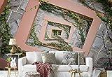 Vlies Fototapete Fotomural - Wandbild - Tapete - Spiral-Rahmen Betonmauer Fenster Efeu - Thema Patterns - MUSTER - 104cm x 70.5cm (BxH) - 1 Teilig - Gedrückt auf 130gsm Vlies - 1X-945161VEM
