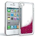 EAZY CASE Apple iPhone 4 / 4S Schutzhülle mit Flüssig-Glitzer Handyhülle, Schutzhülle, Back Cover mit Glitter Flüssigkeit, aus TPU/Silikon, Transparent/Durchsichtig, Pink