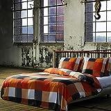 Etérea 2 TLG Renforcé Baumwolle Bettwäsche Rian Kariert Karo Orange Grau, 135x200 cm + 80x80 cm