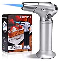 Bearbro Kitchen Blow Torch Lighter,Refillable Cooking Culinary Butane Torch with Safety Lock and Adjustable Flame for DIY Creme Brulee, Soldering, Camping,Brulee, Pastries, Desserts