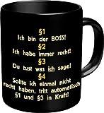 Lustige Witzige Kaffee Becher Tasse - §1 Ich bin der BOSS! - Paragraph/Regeln like a BOSS