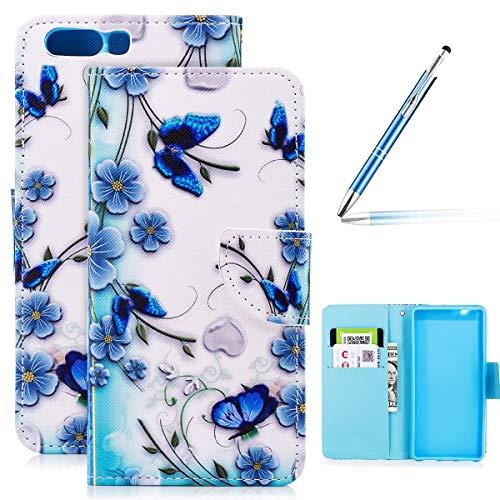 Robinsoni Huawei P10 Hülle,Huawei P10 Leder Hülle Brieftasche Flip Wallet Case Cover Bookstyle Schutzhülle mit 3D Bunt Vintage Painted Muster PU Premium Hülle Tasche Standfunktion
