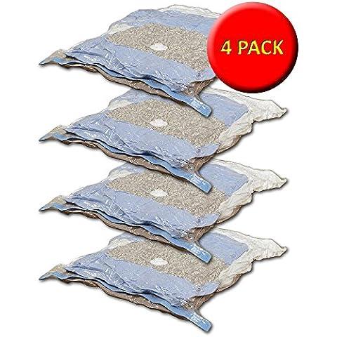 4x grande transparente bolsas de almacenamiento al vacío–L100x W80x H32cm–clara con acceso con cremallera–Ideal para fuera de temporada de almacenamiento de mantas, ropa de cama y ropa