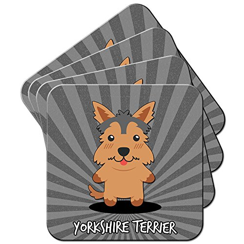 English Cartoon cani/Set di sottobicchieri, Acrilico, Yorkshire Terrier, Yorkie, 6 x (Yorkshire Terrier Coaster)