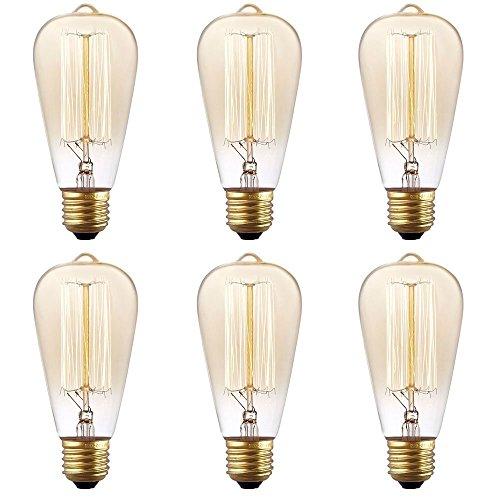fsliving 6Pack 60W Edison Glühbirne Nostalgic E26dimmbar-Glühbirnen Dusk To Dawn Glühbirne Adapter