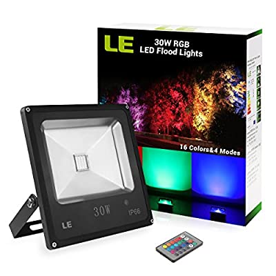 LE Remote Control 30W RGB LED Flood Lights, Colour Changing LED Security Light, 16 Colours & 4 Modes, Waterproof LED Floodlight, UK 3-Plug, Wall Washer Light - low-cost UK light shop.