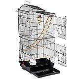Yaheetech Gabbia Voliera per Uccelli Uccellini Pappagalli in Metallo e Legno Nera con Giocattoli 46 x 35,5 x 99 cm