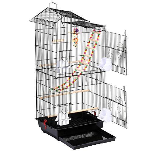 Yaheetech Gabbia per Uccelli Pappagalli Voliera in Metallo e Legno con Giocattoli Nera