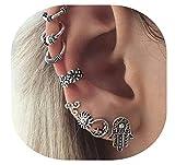 Boho Earring Set Punk Vintage Punk Earring Women Jewelry (Silver) (Silver) (Silver2)