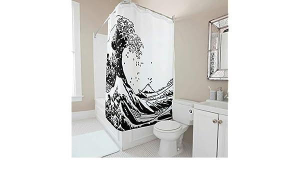 Zhcon Duschvorh/änge Welle Bedruckt Wasserabweisend Anti-Schimmel Meer Shower Curtain 120x200cm Bad Vorhang Wohnaccessoires