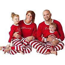Pijamas de Navidad Familia Pijamas Navideñas Adultos Pijama Familiares Manga Larga Hombre Mujer Niños Niña Chica Bebe Rojo Rayas Trajes Navideños para Mujeres Ropa de Noche Homewear