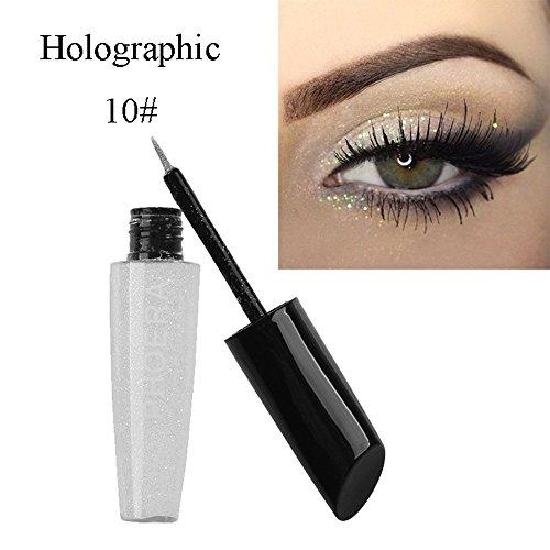 Eaylis Eyeliner Waterproof Paillette Noir Fard à PaupièRes ImperméAble à L'Eau De Paillettes De Maquillage Brillant De Couleur 10