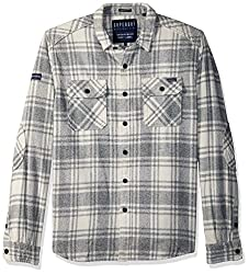 Superdry Mens Milled Flannel Shirt, Lavenham Grit Check, XXL