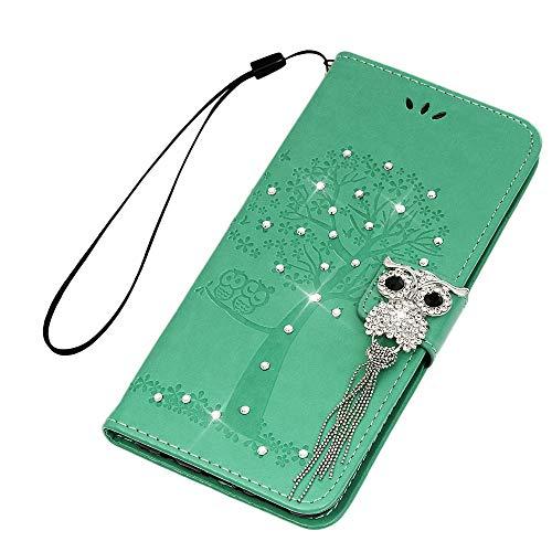 Hülle für Huawei Mate 20 Lite, Geprägte Schnalle vorne Leder Handyhülle Klappbares Brieftasche Schutzhülle Wallet Case Cover mit Integrierten Kartensteckplätzen Minzgrün -