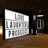 Premium Extra Large LED Cinematic Lightbox- Bigger than A3 - Light Up Box & Changeable Message Board with 85 Numbers, Letters and Characters for Signs, Quotes, Gifts, Weddings & Decorations