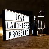 Boîte à lumière cinématographique extra-large à LED Premium - Plus grande que A3 - Boîte lumineuse et tableau d'affichage interchangeable avec 85 numéros, lettres et caractères pour les enseignes, les citations, les cadeaux, les mariages et les décorations