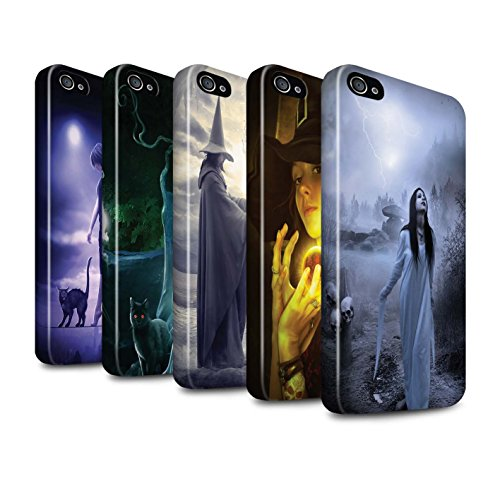 Officiel Elena Dudina Coque / Brillant Robuste Antichoc Etui pour Apple iPhone 4/4S / Sorcière Chaudron Design / Magie Noire Collection Pack 6pcs