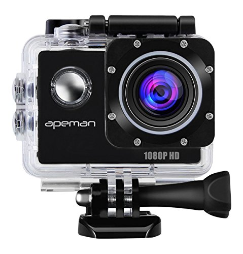 APEMAN Sports Action Cam wasserdichte Camera Helmkamera Full HD 1080p 170 ° Weitwinkel mit Zubehör Kits