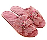 Dark Pink Double Dentelle Tissu Mode Accueil Chaussons Chaussons innovantes