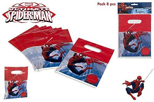 COLORBABY, 71905, Pack 8 Party-Taschen Spiderman, Pack 8 Taschen zum Geburtstag Spiderman