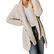 Fabal Womens Open Front Solid Pocket Cardigan Casual Long Sleeve Sweater Coat