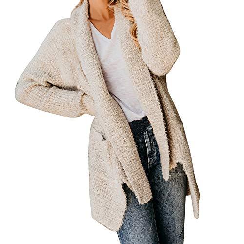 Paolian Veste de Cardigan en Tricot de Couleur Unie à Manches Longues pour Femmes, Automne et Hiver, Veste décontractée Slim Confortable et Douce et Sauvage (S/M/L/XL/XXL)