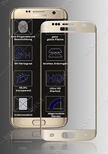 Preisvergleich Produktbild 2 Stück 3D FULL COVER Panzer Folie für SAMSUNG GALAXY S6 EGDE vorne GOLD Schutzglas Panzerfolie Echtglas GLAS
