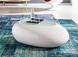 SalesFever® Couchtisch Jaik, aus weißem Fiberglas, 115,5 x 84 cm, abgerundeter Wohnzimmertisch, 8 mm Tischplatte aus Glas, Tisch mit pflegeleichter Oberfläche